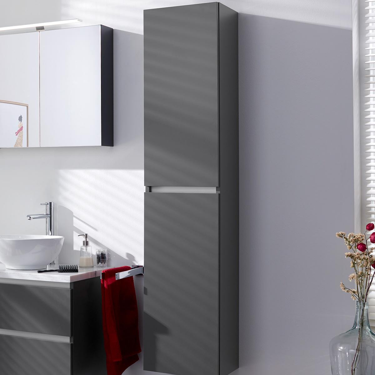 Hoge badkamerkast hoogglans antraciet 35x35x160h cm for Hoge badkamerkast